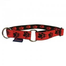 Halsband Pfötchen rot-schwarz ZERO DC
