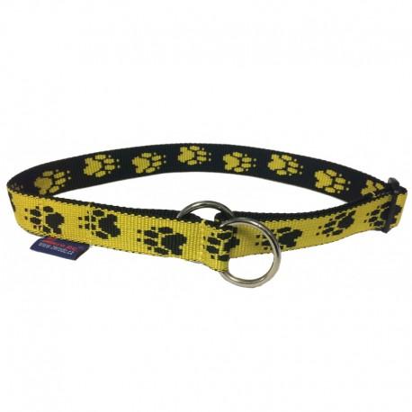 Halsband Pfötchen gelb-schwarz Zugstop ZERO DC