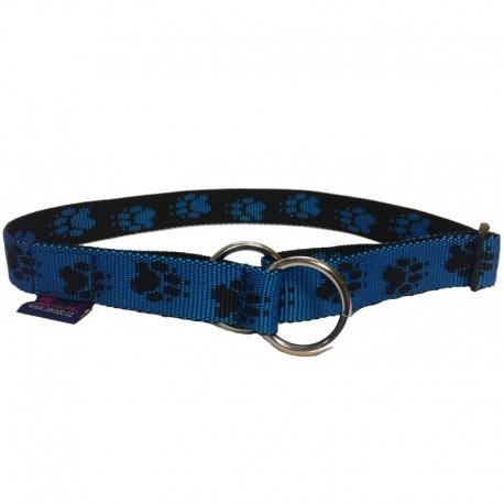 Halsband Pfötchen blau-schwarz Zugstop ZERO DC