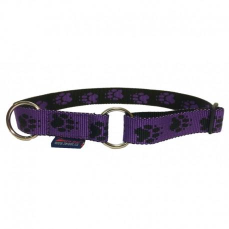 Halsband Pfötchen violett-schwarz Zugstop ZERO DC