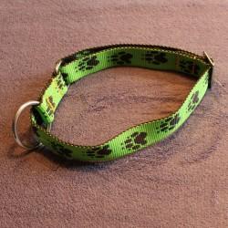 Halsband grün & schwarze Pfötchen