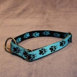 Halsband hellblau & schwarze Pfötchen